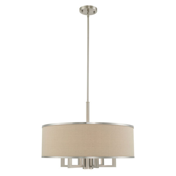 Park Ridge Brushed Nickel 24-Inch Seven-Light Pendant Chandelier with Hand Crafted Ash-Gray Linen Hardback Shade, image 1