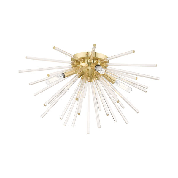 Utopia Satin Brass 20-Inch Four-Light Ceiling Mount with Clear Crystal Rods, image 3