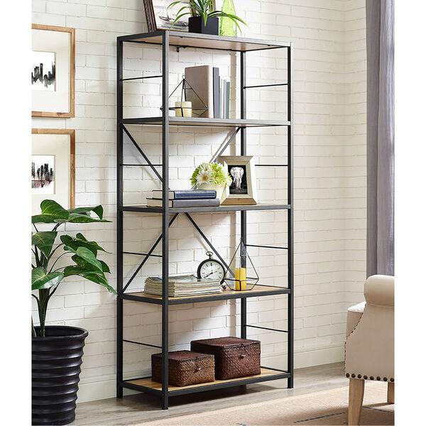 60-inch Rustic Metal and Wood Media Bookshelf - Barnwood, image 1