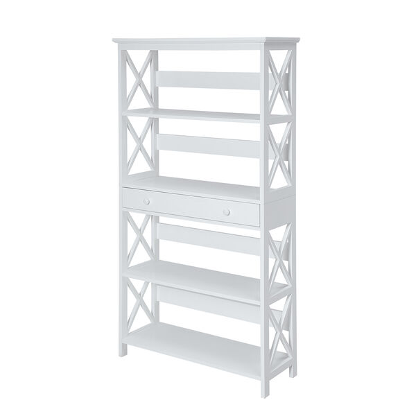 Oxford 5-Tier Bookcase with Drawer, White, image 2