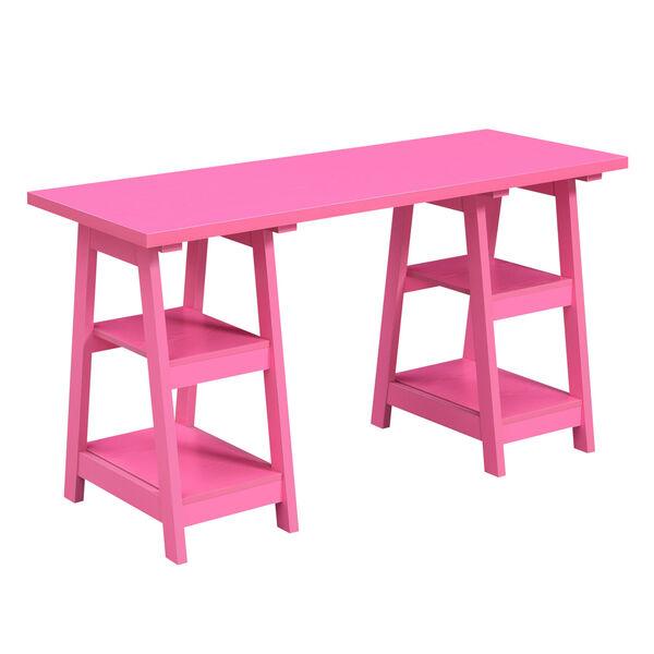 Designs2Go Pink Double Trestle Desk, image 2