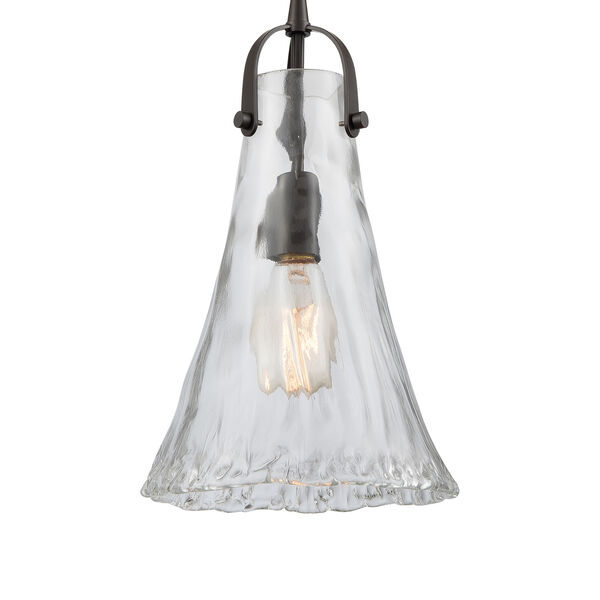 Hand-Formed Glass Oil Rubbed Bronze 15-Inch One-Light Mini Pendant, image 4