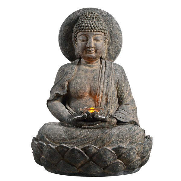 Stone Grey Outdoor Buddha Zen Fountain with LED Light, image 6