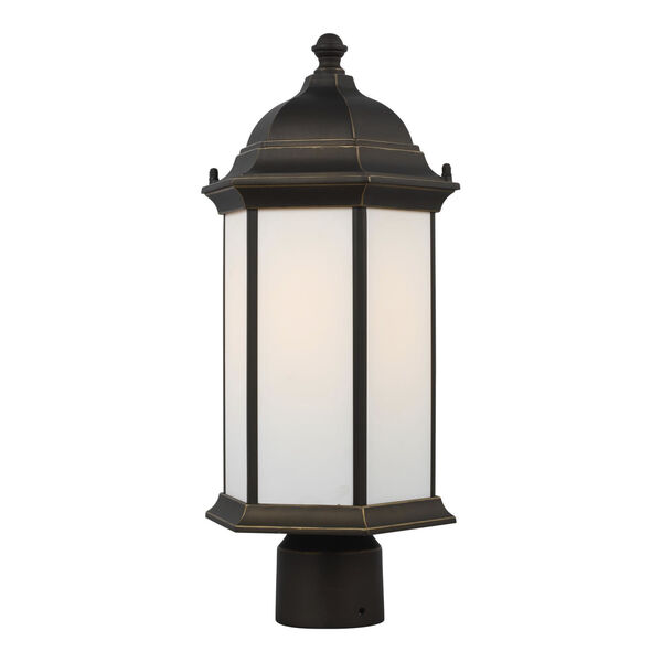 Sevier Antique Bronze One-Light Outdoor Post Mount with Satin Etched Shade, image 2
