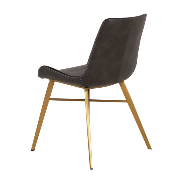 Hines Charcoal Brown and Gold Dining Chair, image 5