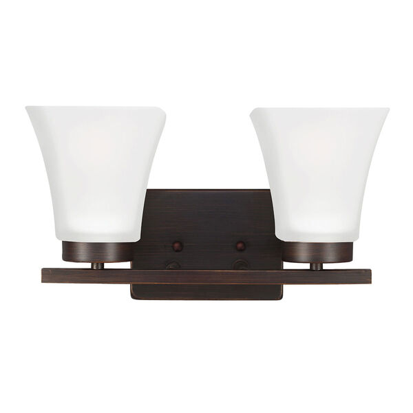 Bayfield Bronze Two-Light  Wall Sconce with Satin Etched Glass, image 1