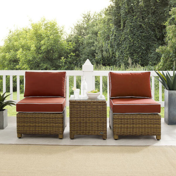 Bradenton Sangria Weathered Brown Three-Piece Outdoor Wicker Chair Set, image 2