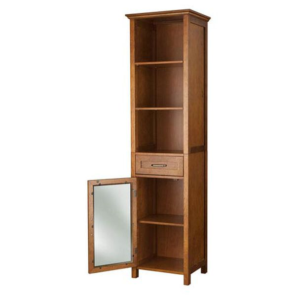 Avery Oak Linen Cabinet with One-Drawer and Three Open Shelves, image 5