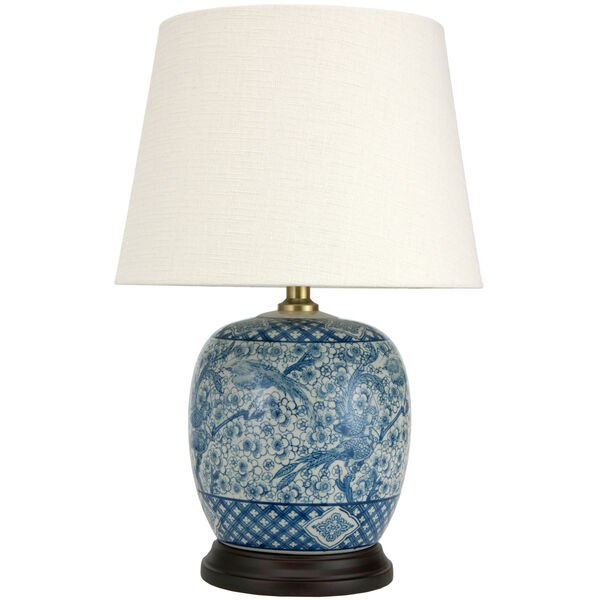 20-inch Classic Blue and White Porcelain Jar Lamp, image 1