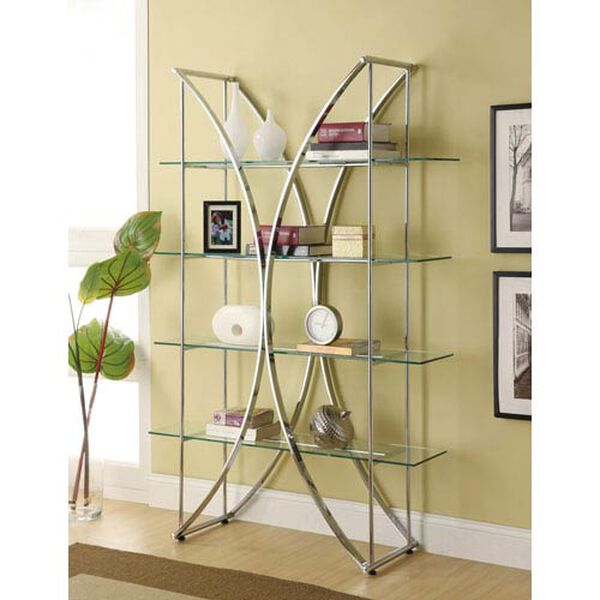 X-Motif Chrome Finish Bookshelf with Floating Style Glass Shelves, image 1