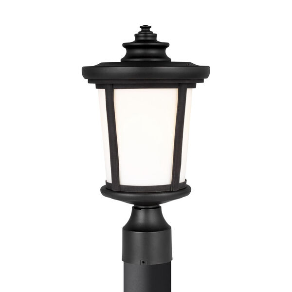 Eddington Black One-Light Outdoor Post Mount with Cased Opal Etched Shade Energy Star, image 1