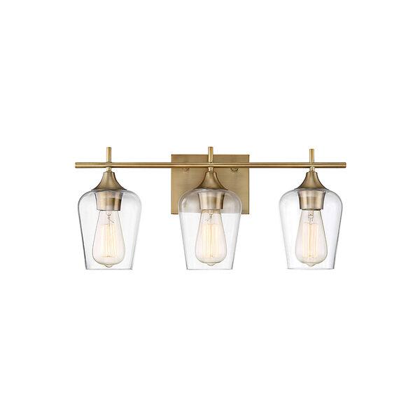 Octav Warm Brass 21-Inch Three-Light Bath Vanity, image 1