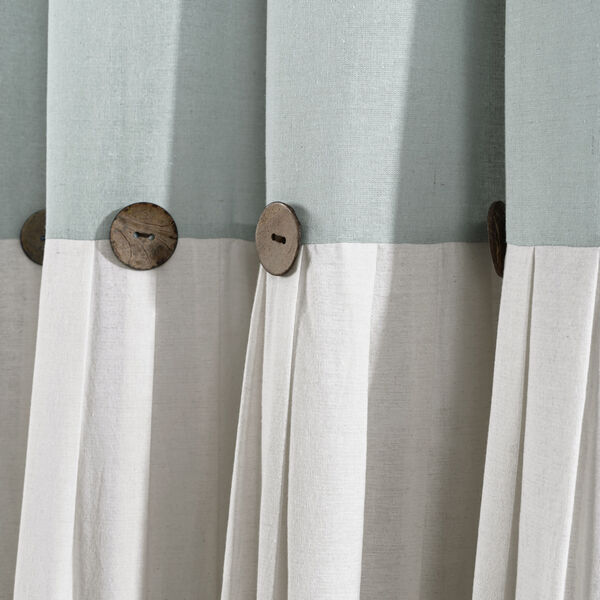 Linen Button Blue and Gray 40 x 108 In. Single Window Curtain Panel, image 2