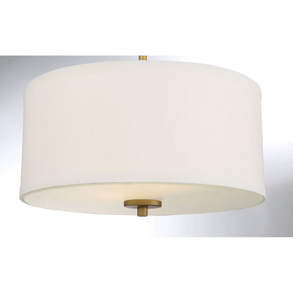 Selby Natural Brass Two-Light Semi Flush Mount with White Fabric Shade, image 5