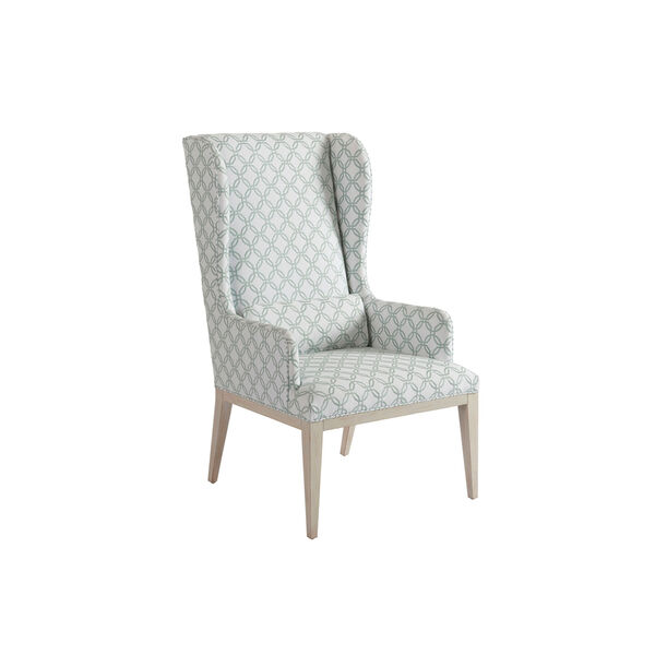 Newport Green and White Seacliff Upholstered Host Wing Chair, image 1