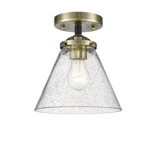 Nouveau Black Antique Brass Eight-Inch One-Light Semi-Flush Mount with Seedy Large Cone Shade, image 1