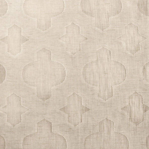 Ivory Tile Patterned Faux Linen Sheer 108 x 50 In. Curtain Single Panel, image 6