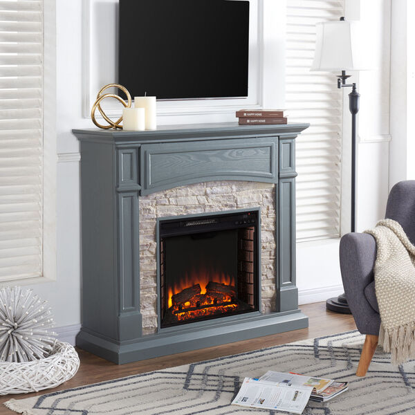 Seneca Cool Slate Gray Electric Media Fireplace with Weathered Stacked Stone, image 4