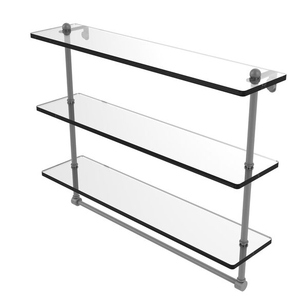 Matte Gray 22-Inch Triple Tiered Glass Shelf with Integrated Towel Bar, image 1