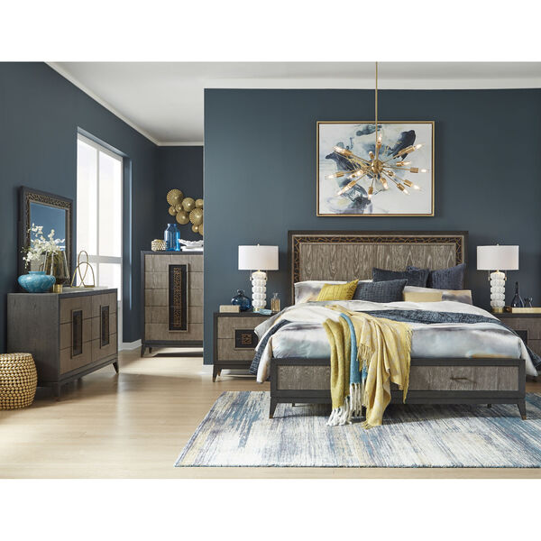 Ryker Nocturn Black and Coventry Gray Complete Queen Panel Storage Bed, image 5