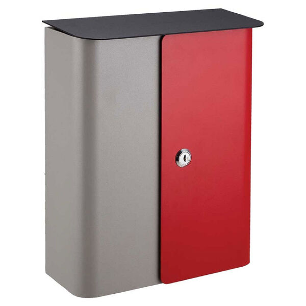 Vista Locking Mailbox Gray/Red Front Door, image 1