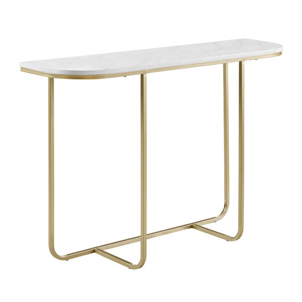 White Faux and Gold 44-Inch Curved Entry Table, image 4