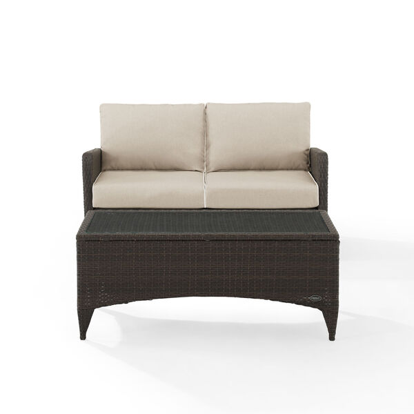 Kiawah Sand Brown Two-Piece Outdoor Wicker Chat Set, image 2