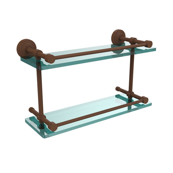 Waverly Place 16 Inch Double Glass Shelf with Gallery Rail, Antique Bronze, image 1