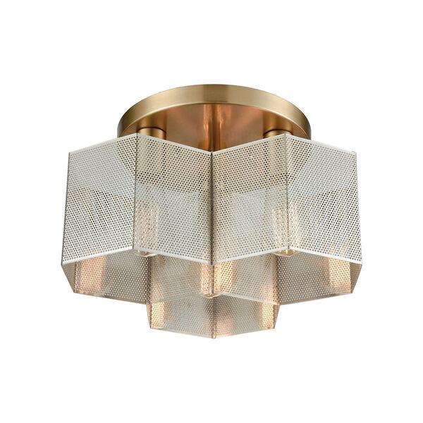 Compartir Polished Nickel and Satin Brass Three-Light Semi-Flush Mount, image 1