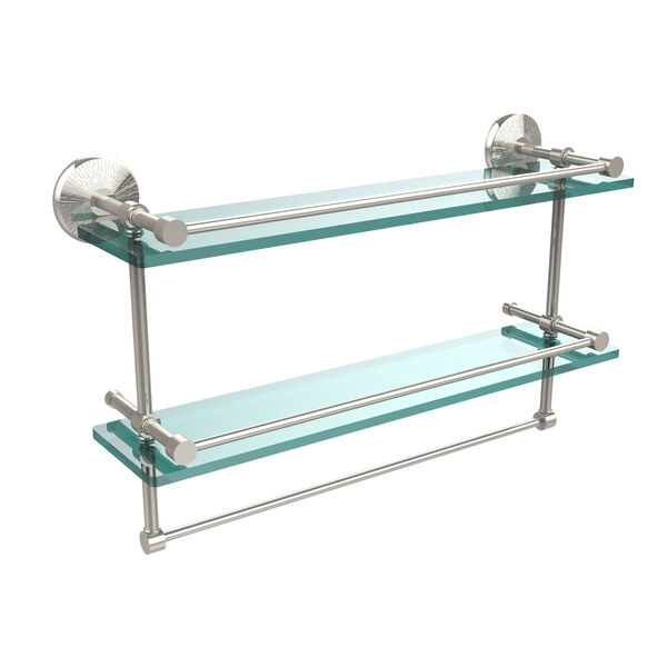 22 Inch Gallery Double Glass Shelf with Towel Bar, Polished Nickel, image 1