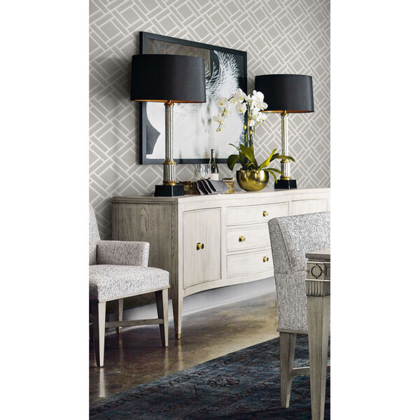 Lillian August Luxe Retreat Cove Gray and Fog Block Trellis Unpasted Wallpaper, image 1