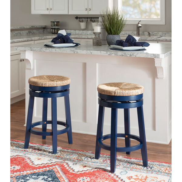 Ellie Navy Blue and Natural 25-Inch Swivel Counter Stool, image 6