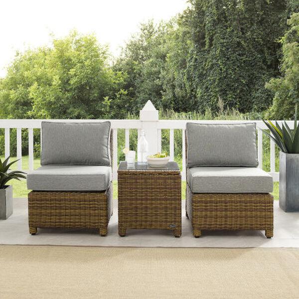 Bradenton Gray Weathered Brown Three-Piece Outdoor Wicker Chair Set, image 2