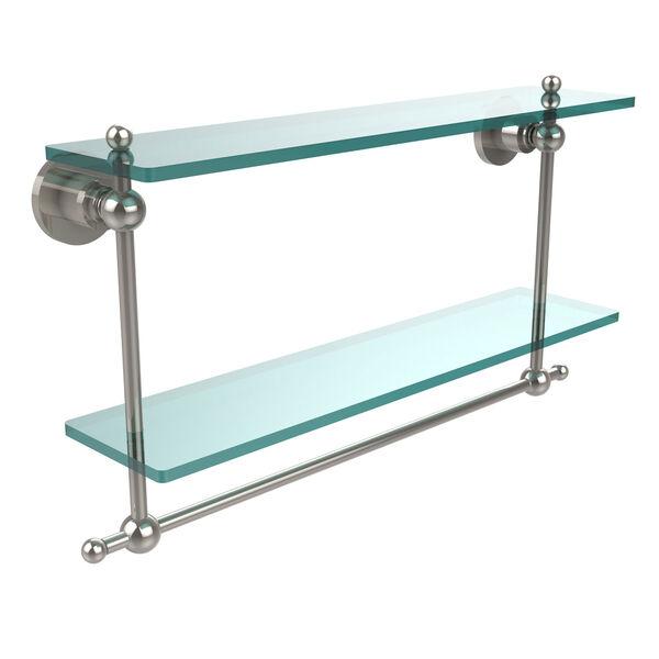 Polished Nickel Double Shelf with Towel Bar, image 1