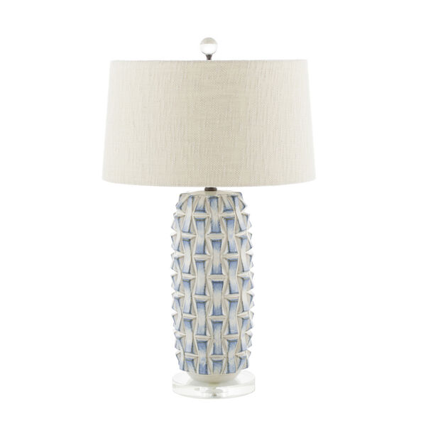 Kelly Blue and White Ceramic and Burnished Bronze 7-Inch Table Lamp, image 1