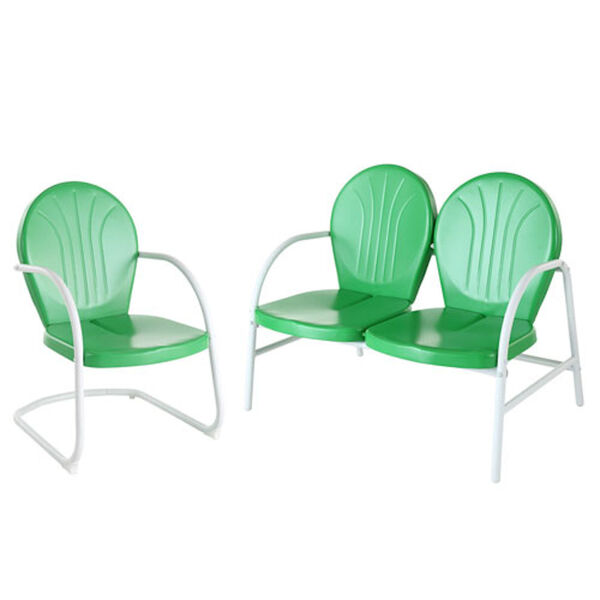 Griffith Two Piece Metal Outdoor Conversation Seating Set: Loveseat and Chair in Grasshopper Green Finish, image 1
