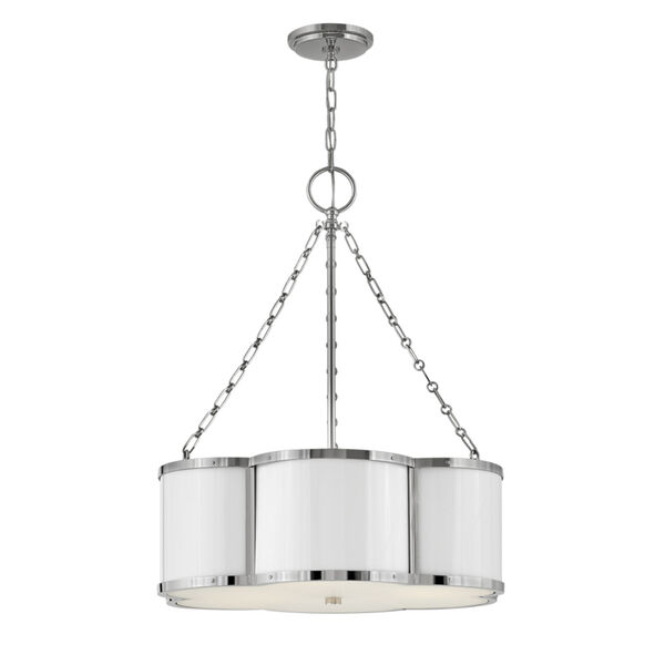 Chance Polished Nickel Three-Light Pendant With Etched Lens Glass, image 1