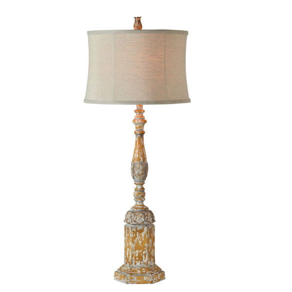 Edward Natural Oak, Washed Gray and White One-Light 40-Inch Table Lamp, image 1