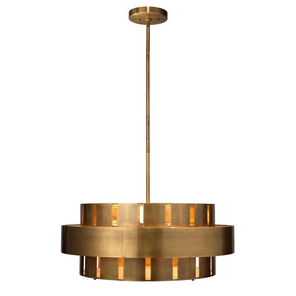 Orbit Antique Brass Four-Light Chandelier, image 3