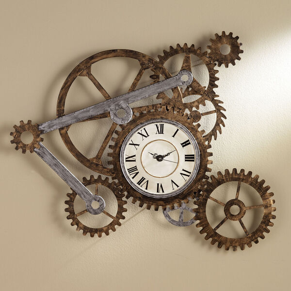 Multicolor Gear Wall Art with Clock, image 1