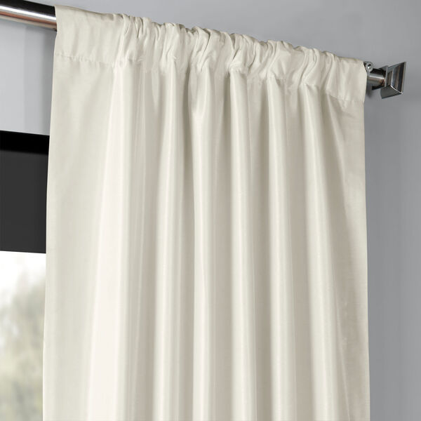 Off White 50 x 96-Inch Blackout Vintage Textured Faux Dupioni Silk Curtain, image 3