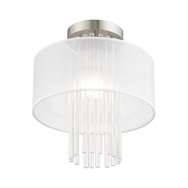 Alexis Brushed Nickel 11-Inch Ceiling Mount Transparent Crystal Rods Hand Crafted Translucent Fabric Shade, image 4