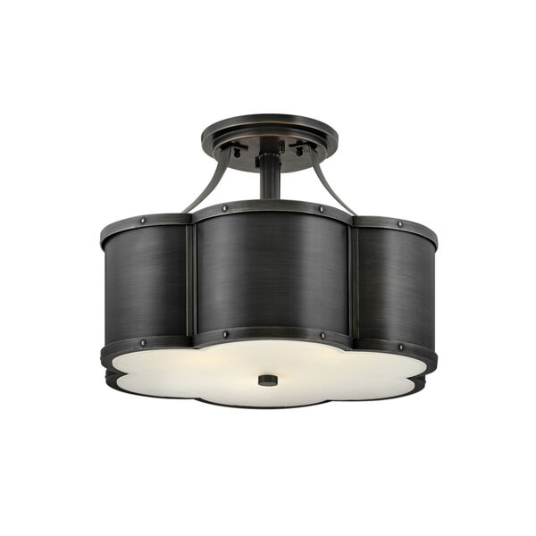 Chance Blackened Brass Three-Light Foyer Semi-Flush Mount With Etched Lens Glass, image 1