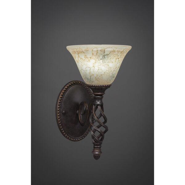 Elegante One-Light Wall Sconce - Dark Granite Finish with 7 Inch Italian Marble Glass, image 1