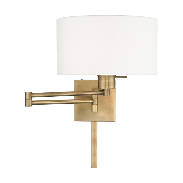 Swing Arm Wall Lamps Antique Brass 11-Inch One-Light Swing Arm Wall Lamp with Hand Crafted Off-White Hardback Shade, image 3