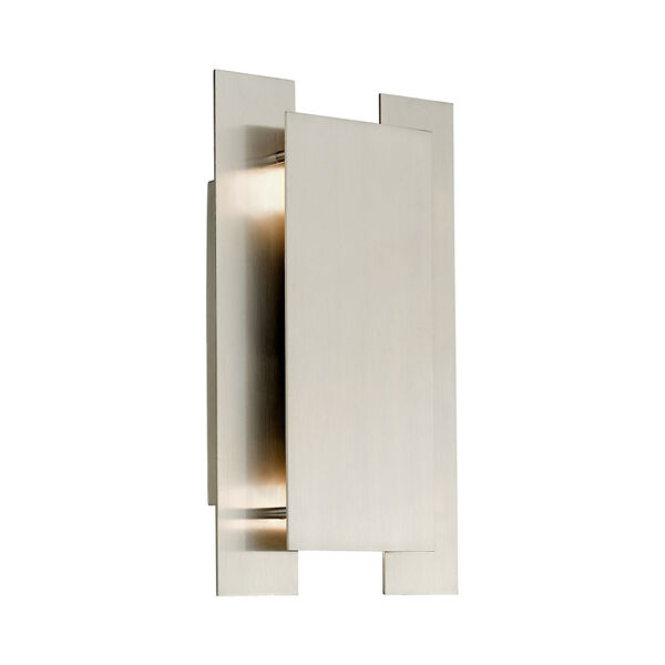 Varick Brushed Nickel Eight-Inch Two-Light ADA Wall Sconce with Brushed Nickel Metal Shade, image 1