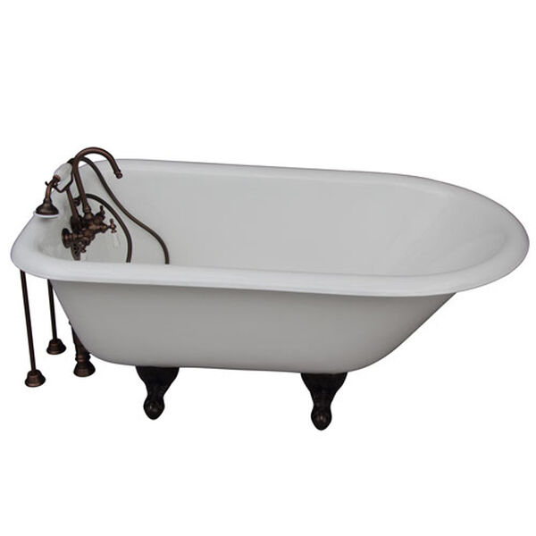 Oil Rubbed Bronze Tub Kit 54-Inch Cast Iron Roll Top, Filler, Supplies, and Drain, image 1