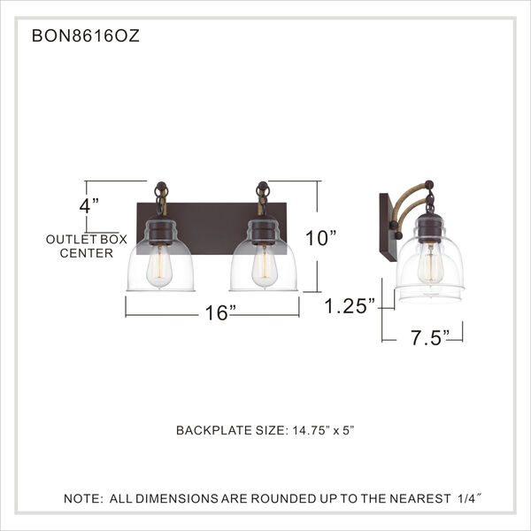 Bosun Old Bronze Two-Light Bath Vanity with Transparent Glass, image 6