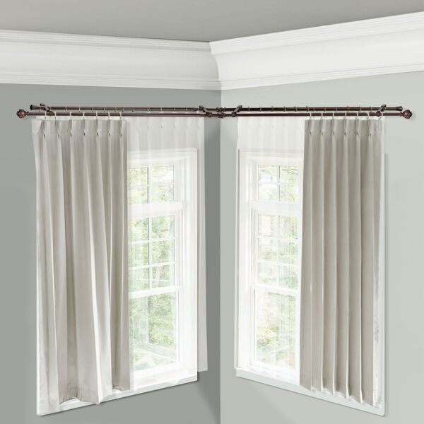 Eleanor Cocoa 48-Inch Corner Window Double Curtain Rod, image 2