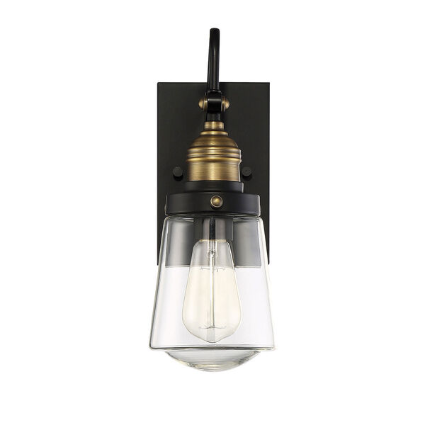Afton Vintage Black with Warm Brass One-Light Outdoor Wall Sconce, image 2